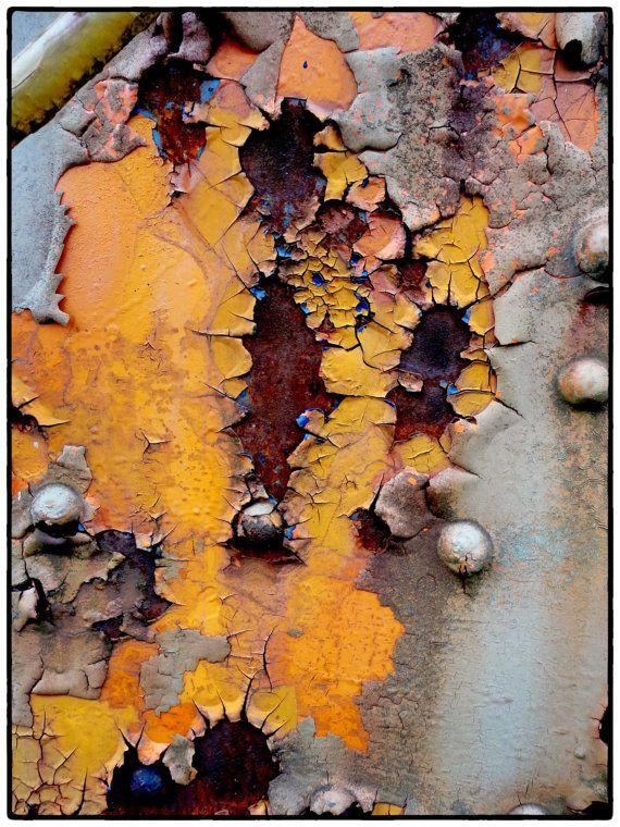 Rust Photography 8 x 10 Abstract Yellow Orange Urban Art Photo- Retired Dixie Trains   – ART