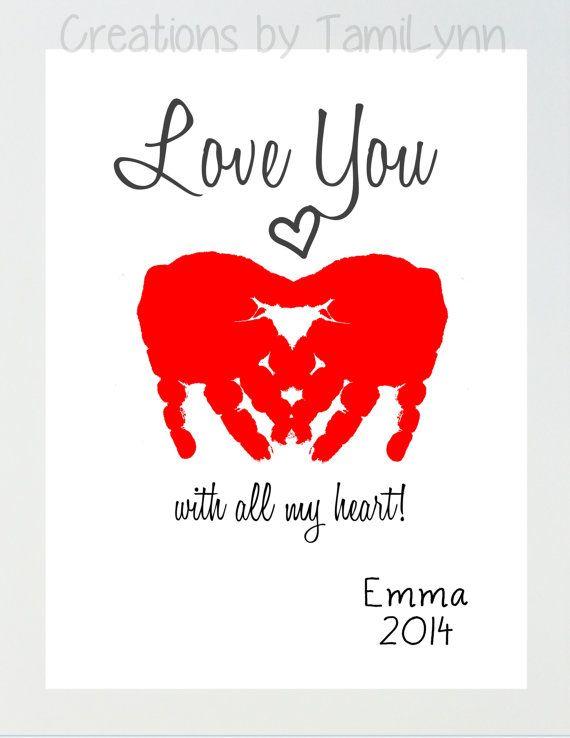 Heart Love You Baby Handprint Art by CreationsbyTamiLynn on Etsy