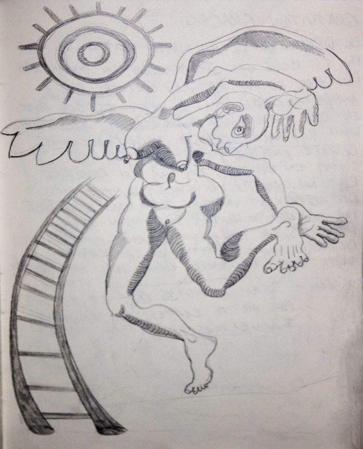 The making of -  Fallen Angel Pencil Cartoon 1 http://julianventer.com/ #JulianVenter #DigitalArt #Drawing #Fantasy