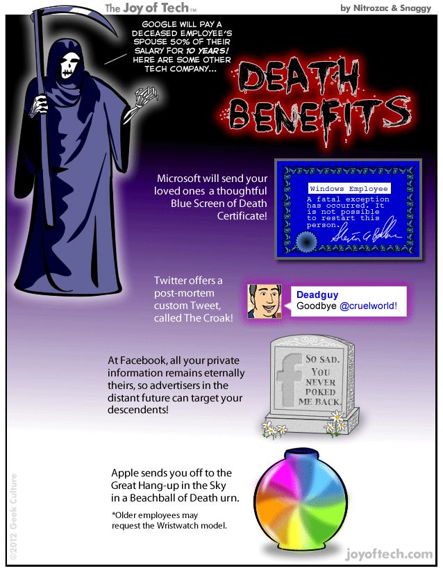 Death benefits from tech companies: