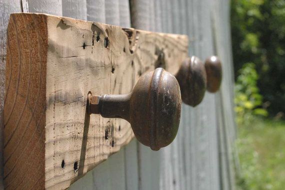 rustic barn wood and antique doorknob coat rack. reclaimed, upcycled via Etsy