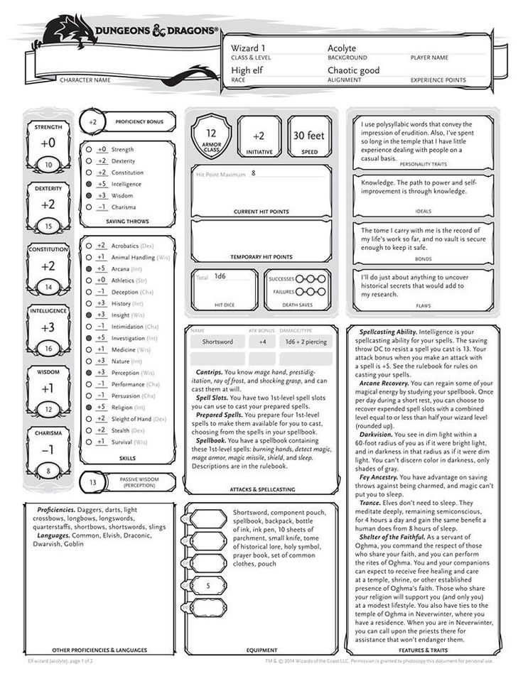 D d 5th edition wizard character sheet pg 1 dungeons for Bureau 13 rpg pdf