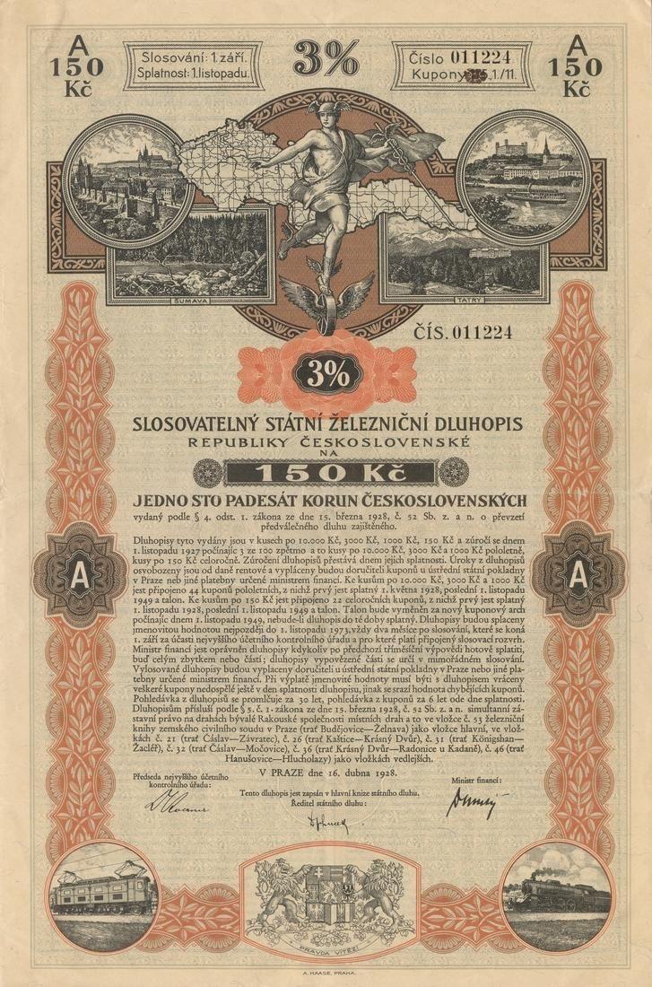 Slosovatelný státní železniční dluhopis republiky Československé (3%ige verlosbare Staatseisenbahnschuldverschreibung der Čechoslovakischen Republik) na 150 Kč. Praha, 1928.