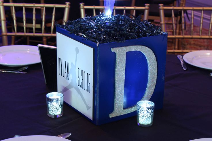 Bar Mitzvah Cube CenterpieceBar Mitzvah Cube Centerpiece with Custom Logo, Initial & LED Votives