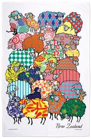 Psychedelic Sheep Tea Towel