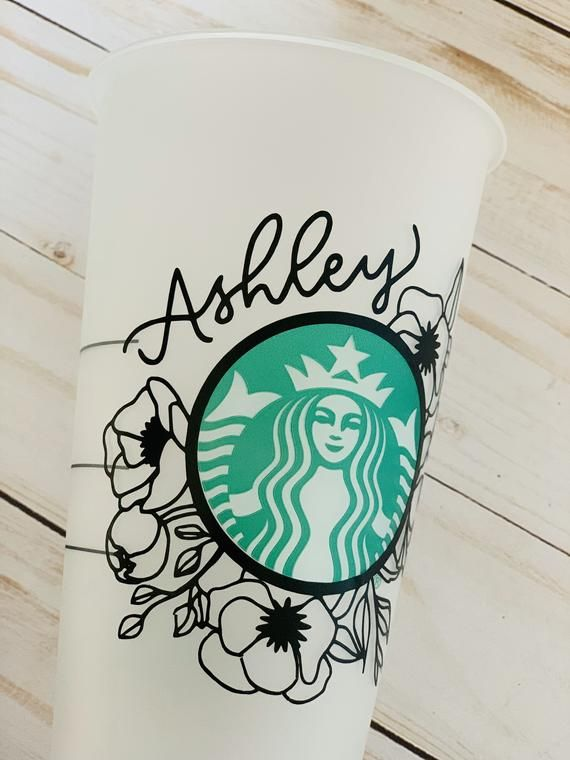 Starbucks Cup Floral Design Reusable Cold Cup Personalized Tumbler Custom Gift In 2020 Personalized Starbucks Cup Custom Starbucks Cup Starbucks Cup Art