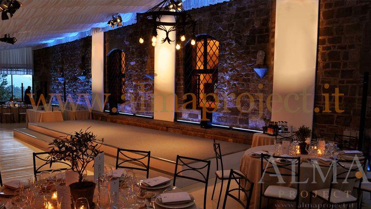 ALMA PROJECT @ Vincigliata - Veranda - stage - wall uplights - white panels white blue grey