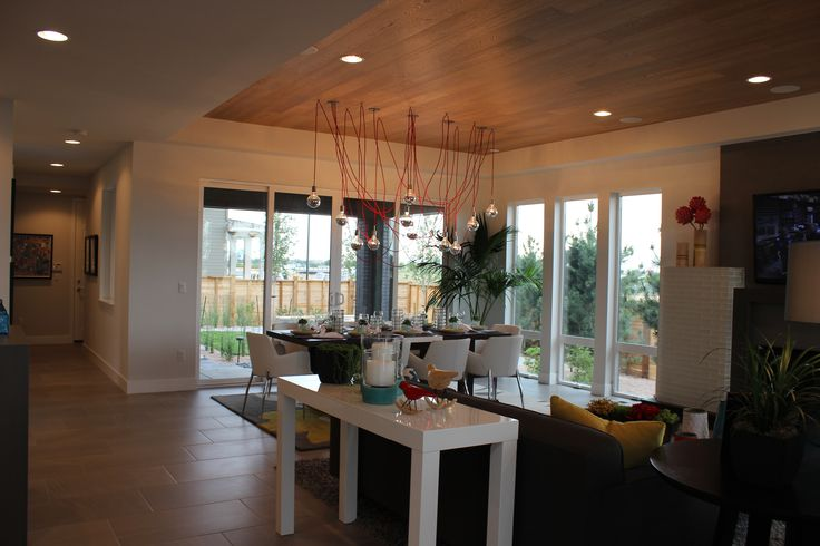 Vue Plan 2 Entry - love the hardwood along the living room ceiling!