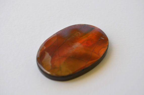 RARE  Red Ammolite gemstone cabochon 40.5 x 28 x 5 by CabochonArt