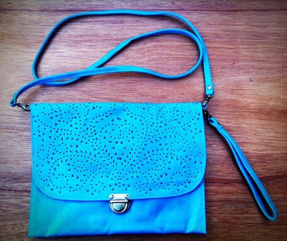 Aster Leather Handbag- turquoise on Etsy, $145.00