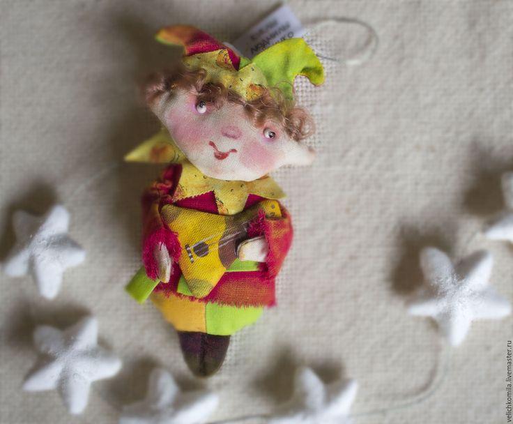 Купить Текстильная кукла Скоморох - ярко-красный, скоморох, желный, народный стиль, народная кукла