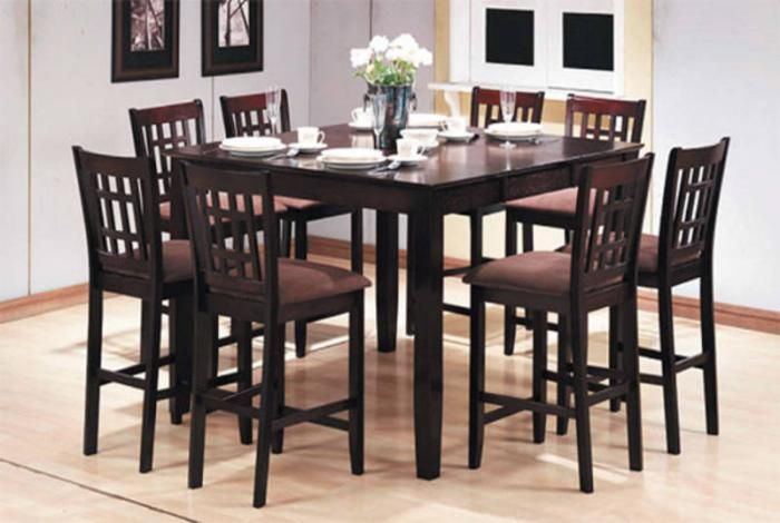 High Dinner Table Set Of 8 Seat Pub Table Pc Pub Style Dining Set Table 8
