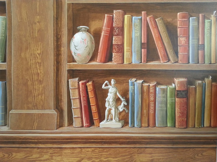 Mural sample for trompe l'oeil bookcase presentation www.melholmes.co.uk