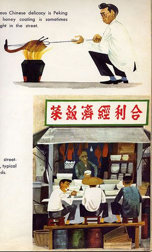 "This Is Hong Kong - ""Peking Duck"" / Image from another book in the ""This Is..."" series written and illustrated by the inimitable Miroslav Sasek, 1965."