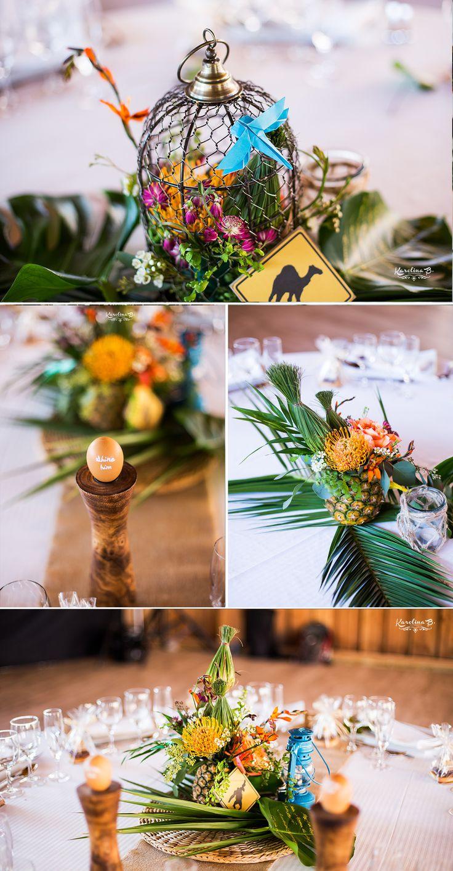 Mariage tropical à Toulouse / Centre de table tropical, ananas / Photo: Karolina B. / Organisation & Décoration: Joli coup de pouce /  Fleurs: L'Instant Bucolique / Lieu: Domaine du Beyssac