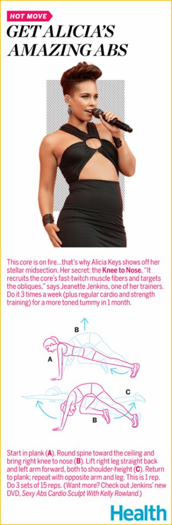 Alicia Keys isn't afraid to flaunt her toned tummy. Her secret exercise? The Knee to Nose. | Health.com