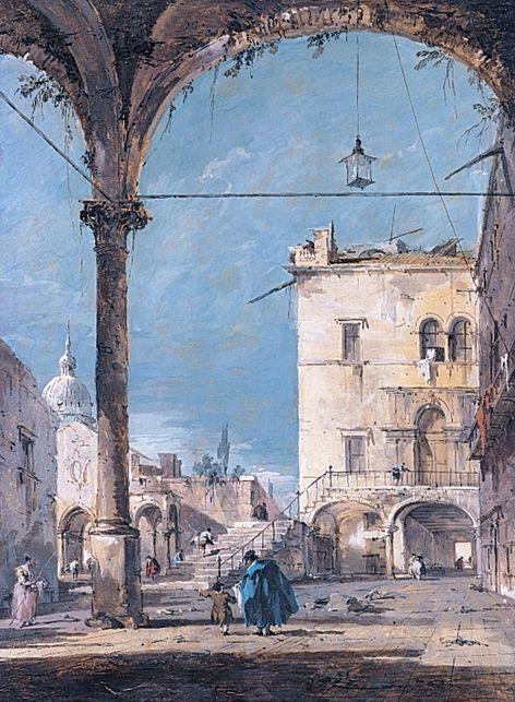 Francesco Guardi, Portique vénitien, vers 1760. Paris, musée Jacquemart-André.