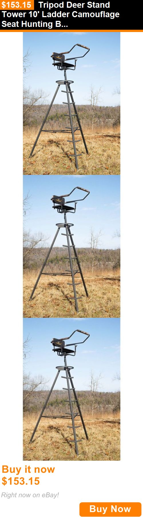 Game Carts Gambrels and Hoists 177888: Tripod Deer Stand Tower 10 Ladder Camouflage Seat Hunting Bow Rifle Shooting BUY IT NOW ONLY: $153.15