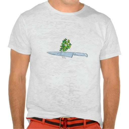 Knife Microgreen Drawing Shirt. Drawing sketch style illustration of a knife with microgreen vegetables set on isolated white background. #Drawingsketch #KnifeMicrogreen