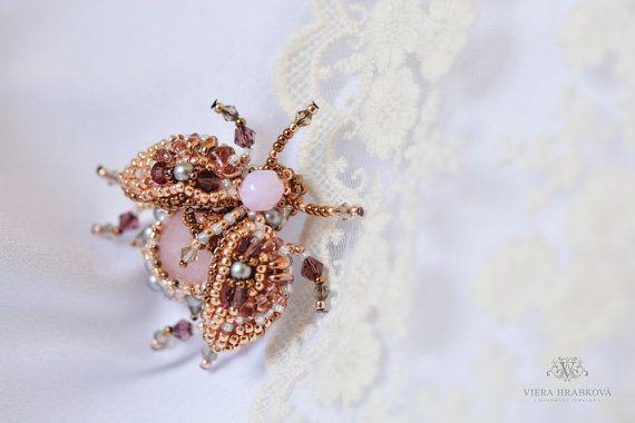 Beaded beetle bug  brooch  rose quartz by VEHA on Etsy