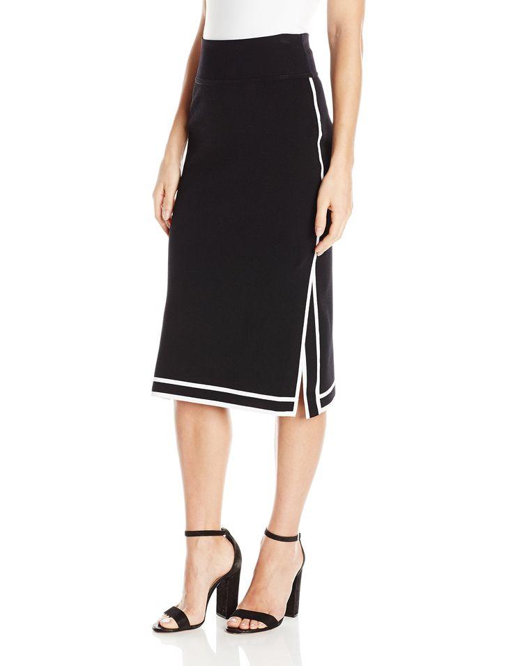 KENDALL + KYLIE Women's Sports Border Skirt, Black/White, M