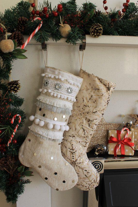 Snowball embellished Christmas Stocking - Small