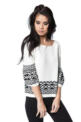 Terrific Tribal Sweater in White | Milk & Honey Boutique - An Online Women's Clothing Boutique