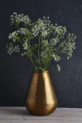 Hand-etched brass vase: tapered                                                                                                                                                                                 More