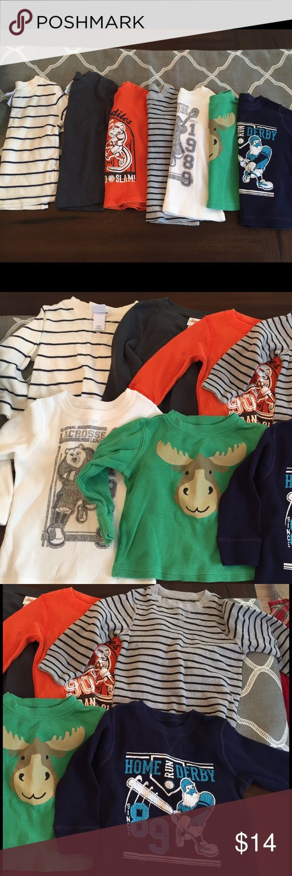 18-24 month boy's long-sleeved thermals 7 long-sleeved toddler boy's thermal shirts. 6 shirts are size 18-24 month, and one is size 2T, but runs small. Brands are Children's Place, Circo, and Carter's. Great condition!                      🔹 Willing to sell items separately or in bundles. Just let me know!! 🔹Check out my closet for other boy and girl baby/toddler items!! I am in the process of selling my boy/girl twins' clothes from Newborn - 3T. If there's something you are looking for…