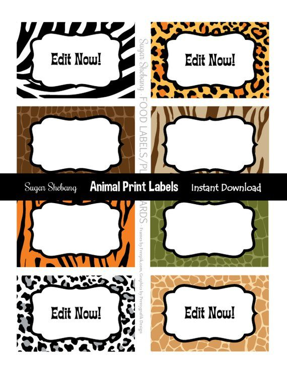 Jungle Party Labels - Safari Food Labels - Instantly Downloadable and Editable File - Personalize at home with Adobe Reader or PicMonkey.com