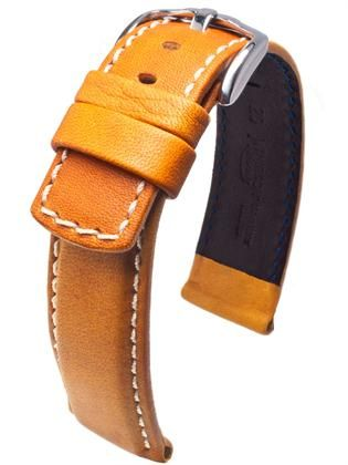 Hirsch Mariner: Highly durable 100 m Water-Resistant sports strap with soft and supple Diving Glove lining leather. Thanks to a special finishing process, the leather of the Mariner model is water-resistant and dries quickly. This beautiful and functional strap can therefore even go swimming and diving with you.