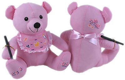 Signature /Message / Autograph Pink Baby Girl 28 cm Bear with Pen
