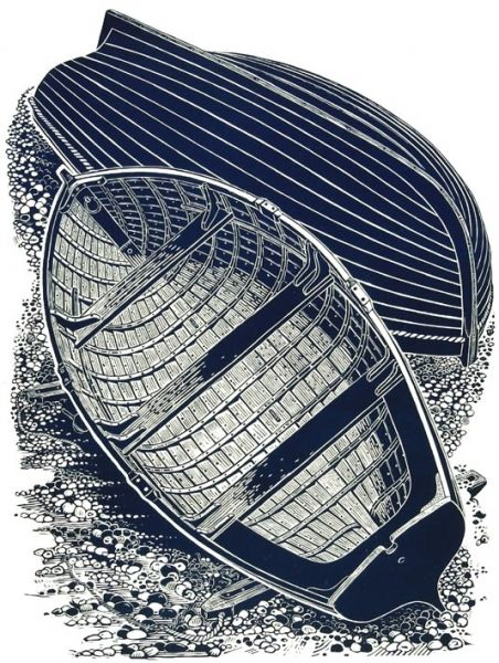 James Dodds ~ Two Boats, 1993 (linocut) http://www.haylettsgallery.com/james_dodds/wrk1000036_two_boats_original_print.html?sid=cba9406f06d565960484aec317a8ba45