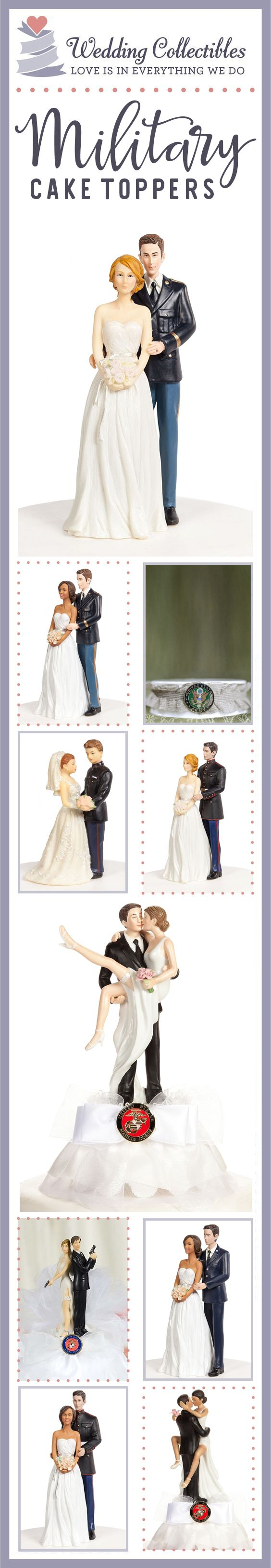 Find the perfect cake topper for your special day. Browse our unique and customizable Navy, Army, Marines, and Air Force wedding cake toppers! View more here: http://www.weddingcollectibles.com/Military-Wedding/