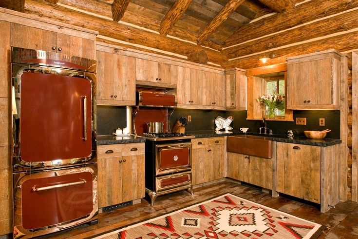 Cabin Kitchen Ideas Rustic with Turned Post Traditional Tile Murals