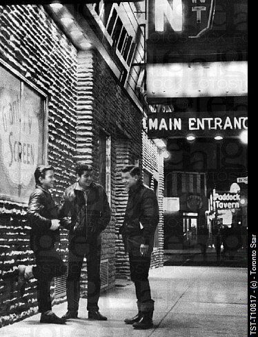 Some greasers at Queen & Bathurst, 1965. Love this! Thanks Vintage Toronto on FB. Photo taken by Barry Philp Feb. 18, 1965. © Toronto Star