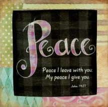 PLAQUE: PEACE I LEAVE WITH YOU.    A unique way to display encouraging messages of faith at work or at home. Wooden plaque with metal hooks for hanging purposes: 238mm x 19mm x 238mm.