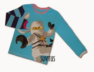 Appliqued white ninjago shirt By Suvitus