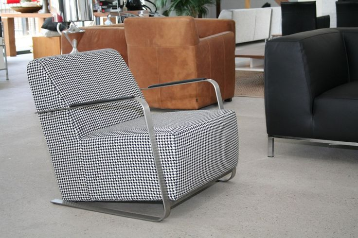 Pied de poule fauteuil stof zwart / wit - Designsales.nl