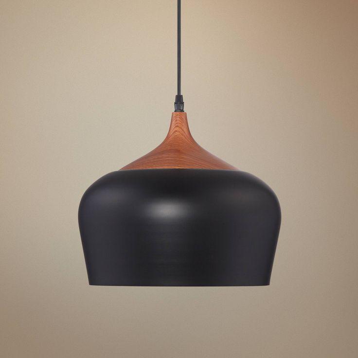 Felton Black Aluminum And Wood 12 Quot Wide Pendant 1g928