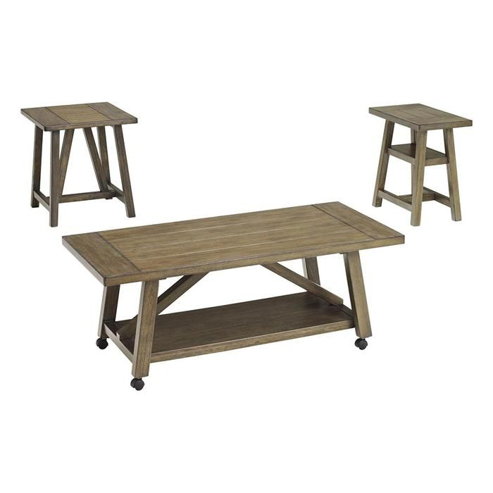 Brinetta 3 Piece Occasional Table Set In Light Brown