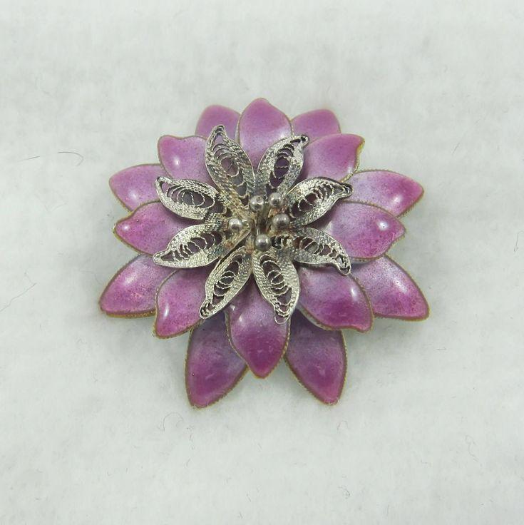 Sterling Silver Enamel Fliligree Flower Pin Brooch by Framarines on Etsy