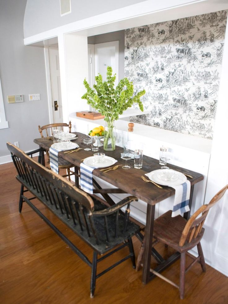 Unique Dining Area Includes Bench Seating And Toile Walls   Home Decor  Designs