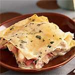 Chicken and ham lasagna-from cooking light so it's worth a try!