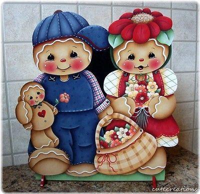 HP familia de Pan de Jengibre con Flores Estante Sitter