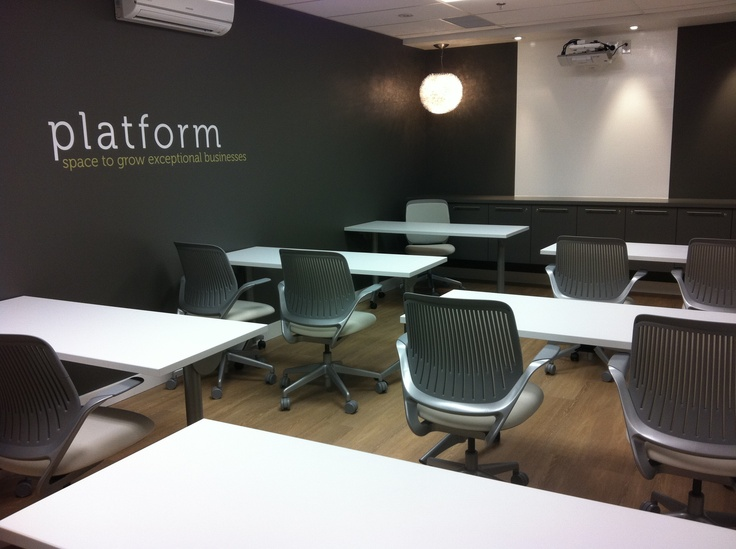 Our kind friends at Atlantic Business Interiors ensured that we had the best furniture to encourage the most productivity here at platform.  Appropriately named, our ABI Boardroom can seat 14 guests boardroom style, or for a training or seminar event why not try classroom style for 12 guests.  A smaller version of our cafe-style break out space has be re-created in the ABI for consistent refreshment availability.  Creativity knows no thirst.