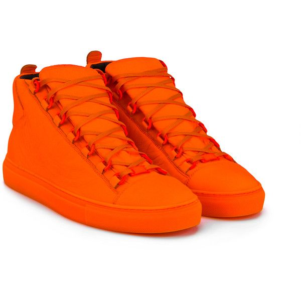 Balenciaga Balenciaga Hi-Top Sneakers (850 CAD) ❤ liked on Polyvore featuring men's fashion, men's shoes, men's sneakers, shoes, mens orange shoes, mens flat shoes, mens lace up shoes, mens orange sneakers and mens high top sneakers