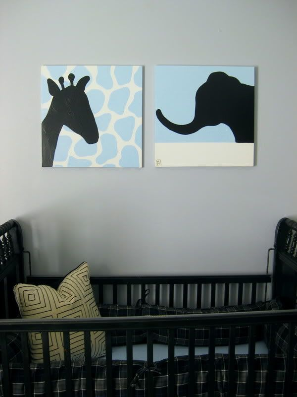 Easy to make yourself.  Best budget nursery idea. Use scrapbook paper and cut out a black animal shape.  Could be framed.