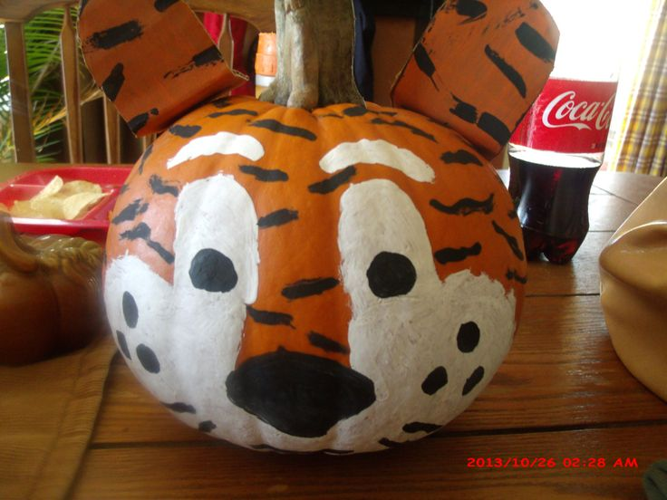 Auburn Tiger Pumpkin that my Daughter and Grandson painted ...