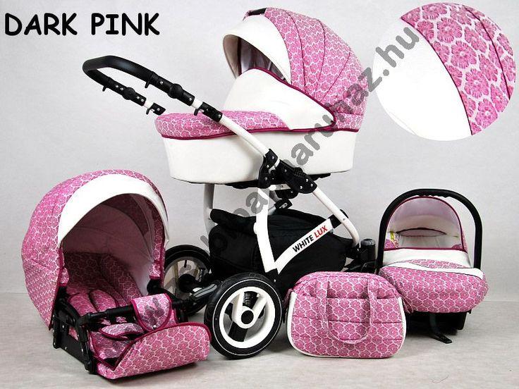 White Lux 3in1 babakocsi - Dark Pink, White Lux 3in1 multifunkciós babakocsi mózeskosárral, sportrésszel, bébihordozóval. Divatos babakocsi fehér vázzal és fehér textilbőr betétekkel., Zsebi Babaáruház